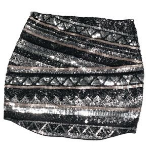 NWT Express Sequins Mini Skirt black silver rose S